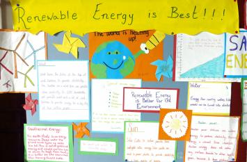 Pupils contributed to this renewable energy display at Hollybush School.
