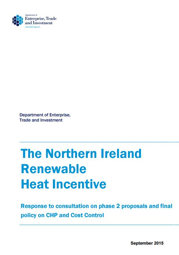 DETI announce changes to the Renewable Heat Incentive in Northern Ireland